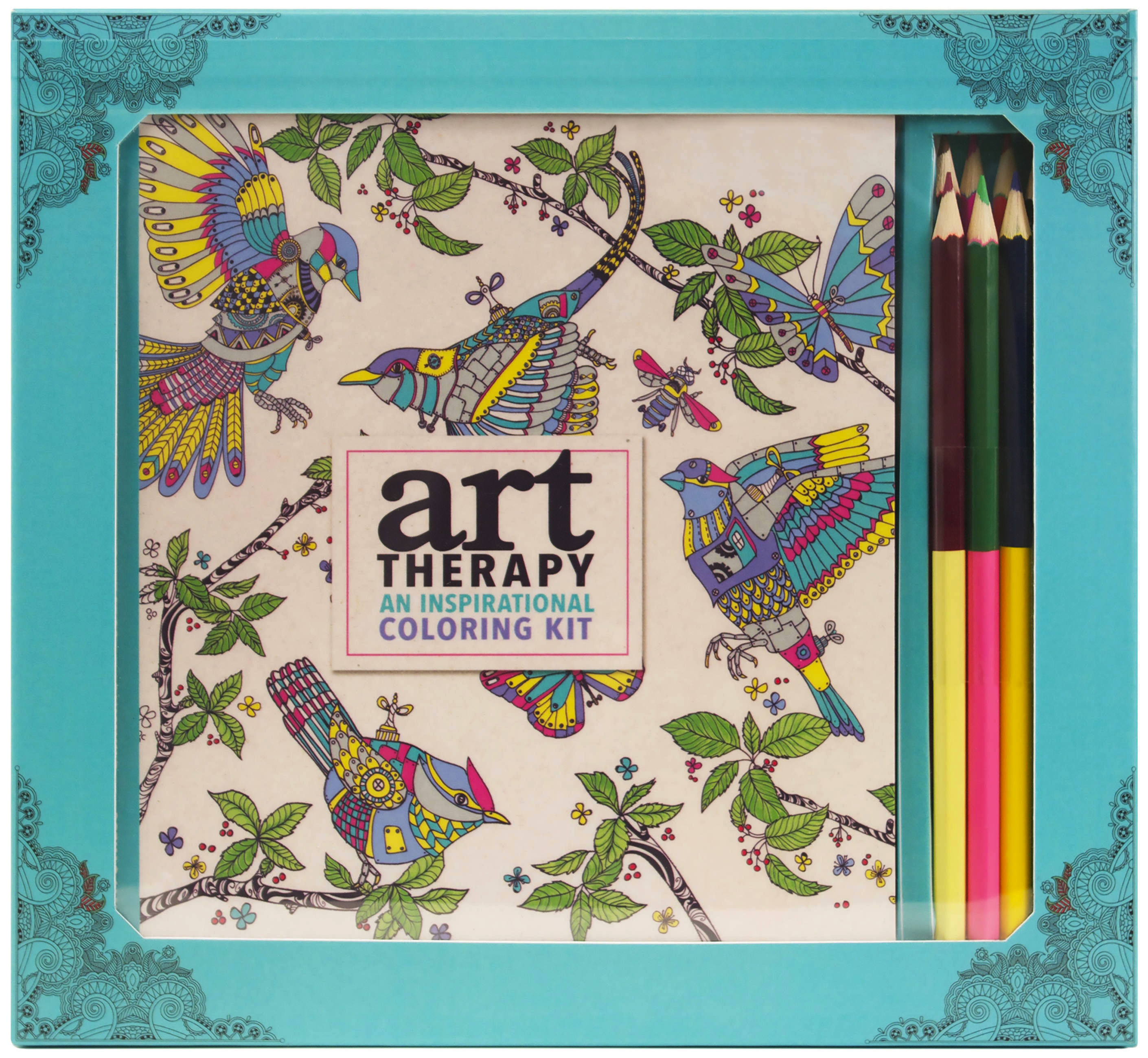 Art therapy coloring book and pencils - Art Therapy An Inspirational Coloring Kit Deluxe Kit With Pencils